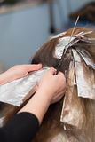Weave hair in beauty salon. Photo taken by professional camera and lens Stock Photo