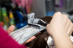 Weave hair in salon Royalty Free Stock Photography
