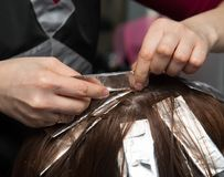 Weave hair in salon Royalty Free Stock Image