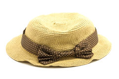 Weave hat. Brown weaving hat with brown ribbon Royalty Free Stock Photos