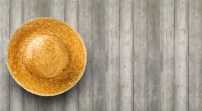 Weave in hat  from top view. On wood background Royalty Free Stock Photo