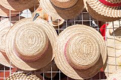 Weave hat was hang on the shelf. In market Royalty Free Stock Images