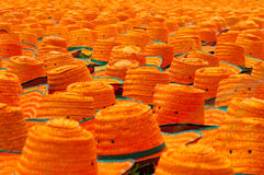 Weave hats. Hats made of bamboo leaves at factory Royalty Free Stock Photography
