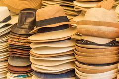 Weave hats. A  stack collection of vintage weave hats Royalty Free Stock Photo