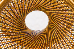 Weave pattern circle and hole in the middle of bamboo background Royalty Free Stock Photos