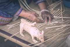 Weave pattern hand bamboo. Bamboo weaving Stock Photo