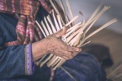 Weave pattern hand bamboo. Bamboo weaving Stock Image