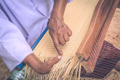 Weave pattern hand bamboo. Bamboo weaving Royalty Free Stock Photography