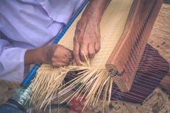 Weave pattern hand bamboo. Bamboo weaving Stock Photos