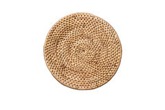Weave rattan texture background, arranging layers of tradition woven round tray, texture background Stock Photos