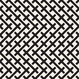Weave Seamless Pattern. Braiding Background of Intersecting Stripes Lattice. Black and White Geometric Vector Royalty Free Stock Photos