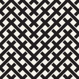 Weave Seamless Pattern. Braiding Background of Intersecting Stripes Lattice. Black and White Geometric Vector Royalty Free Stock Image