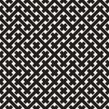 Weave Seamless Pattern. Braiding Background of Intersecting Stripes Lattice. Black and White Geometric Vector Royalty Free Stock Photography