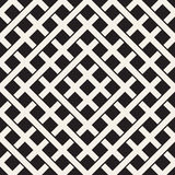 Weave Seamless Pattern. Braiding Background of Intersecting Stripes Lattice. Black and White Geometric Vector Royalty Free Stock Photo