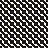 Weave Seamless Pattern. Braiding Background of Intersecting Stripes Lattice. Black and White Geometric Vector Stock Images