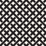 Weave Seamless Pattern. Braiding Background of Intersecting Stripes Lattice. Black and White Geometric Vector Royalty Free Stock Images