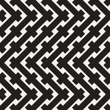 Weave Seamless Pattern. Braiding Background of Intersecting Stripes Lattice. Black and White Geometric Vector Stock Image