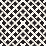 Weave Seamless Pattern. Stylish Repeating Texture. Black and White Geometric Vector Illustration. Stock Images