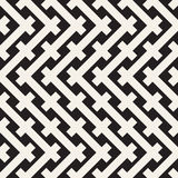 Weave Seamless Pattern. Stylish Repeating Texture. Black and White Geometric Vector Illustration. Royalty Free Stock Photo