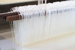 Weave silk cotton on the manual wood loom. In Thailand ,The process of silk weaving in the production of Thai silk royalty free stock image