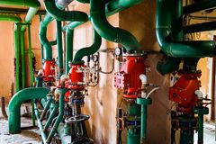 Weave of utility pipes, gas, resources, water stock photos