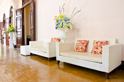 Weave wood sofa white Royalty Free Stock Images