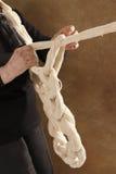 Weave wool. A senior woman weaving wool royalty free stock photos