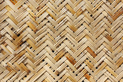 A weaved basket in a natural color. Close-up of a weaved basket in a natural color Stock Photos