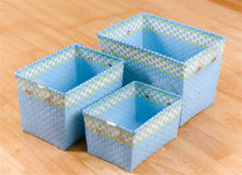 Weaved plastic baskets Royalty Free Stock Images