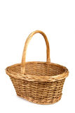 Weaved wooden basket. Weaved wooden basket on the white background stock photography