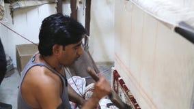 Weaver India carpet stock footage