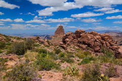 Weaver`s Needle is in the Superstition Mountains east of Phoenix, Arizona. Weaver`s Needle is a prominent rock formation in the remote Superstition Mountains of Royalty Free Stock Images