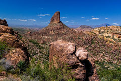 Weaver`s Needle is in the Superstition Mountains east of Phoenix, Arizona. Weaver`s Needle is a prominent rock formation in the remote Superstition Mountains of Stock Photography