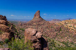 Weaver`s Needle is in the Superstition Mountains east of Phoenix, Arizona. Weaver`s Needle is a prominent rock formation in the remote Superstition Mountains of Royalty Free Stock Photo