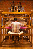 Weaver Using Hand Loom Making Sari Stock Photo