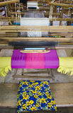 Weaving. Traditional silk textile weaving machine Stock Image