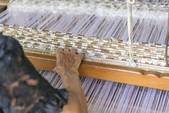 Weaving arts The old tradition. The villagers of Non Salla. This creates additional income for people in the village community. stock image