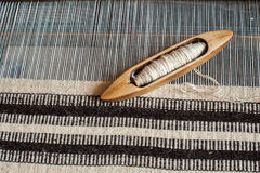 Weaving background. Traditional weaving hand loom for carpets in Transylvania Stock Photos