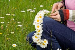 Weaving a daisy wreath Stock Photography