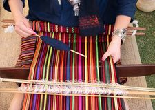 Weaving colorful fabric Royalty Free Stock Images