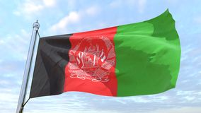 Weaving flag of the country Afghanistan. Flag of the country Afghanistan weaving in the air. Flying in the sky royalty free stock photo