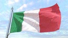 Weaving flag of the country Italy. Flag of the country Italy weaving in the air. Flying in the sky royalty free illustration