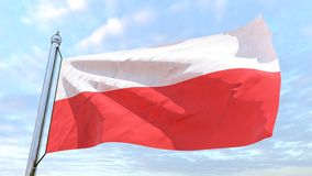 Weaving flag of the country Poland. Flag of the country Poland weaving in the air. Flying in the sky stock photography