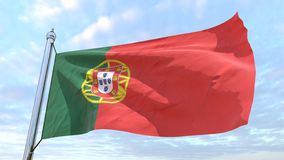Weaving flag of the country Portugal. Flag of the country Portugal weaving in the air. Flying in the sky stock image