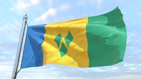 Weaving flag of the country Saint Vincent and the Grenadines. Flag of the country Saint Vincent and the Grenadines weaving in the air. Flying in the sky stock photos