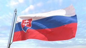Weaving flag of the country Slovakia. Flag of the country Slovakia weaving in the air. Flying in the sky stock images