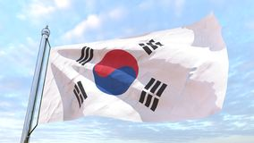 Weaving flag of the country South Korea. Flag of the country South Korea weaving in the air. Flying in the sky stock photography