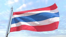 Weaving flag of the country Thailand. Flag of the country Thailand weaving in the air. Flying in the sky stock photo