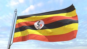 Weaving flag of the country Uganda. Flag of the country Uganda weaving in the air. Flying in the sky royalty free stock image