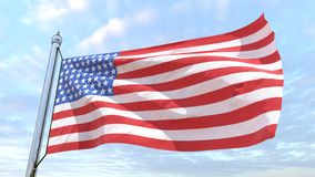 Weaving flag of the country United States. Flag of the country United States weaving in the air. Flying in the sky royalty free stock photography